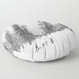Sledding // Snowday Winter Sled Hill Black and White Landscape Photography Ski Vibes Floor Pillow
