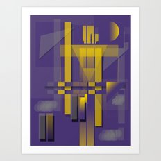 Purple Slices Yellow Art Print