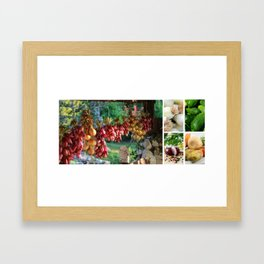 Drying Onions and Vegetable Collage - Kitchen Decor Framed Art Print