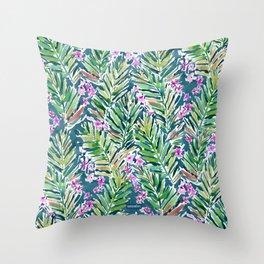 MIDNIGHT IN MAUI Tropical Palm Print Throw Pillow