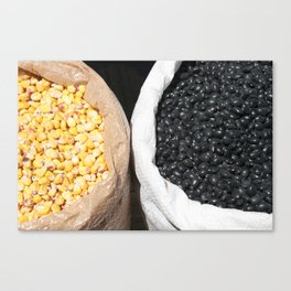 Black Beans and Yellow Corn Canvas Print