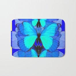 DECORATIVE BLUE SATIN BUTTERFLIES YELLOW PATTERN ART Bath Mat