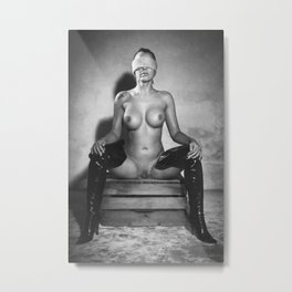 Kinky style with  Blindfolded Nude Woman Metal Print