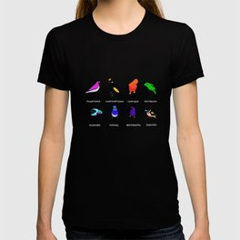 Birds react to the state of the world T-shirt
