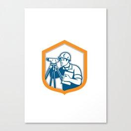 Surveyor Geodetic Engineer Survey Theodolite Shield Retro Canvas Print