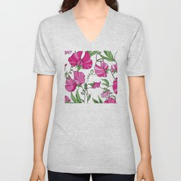 Fairytale Floral Pattern in Peppermint Pink & Alabaster White Unisex V-Neck