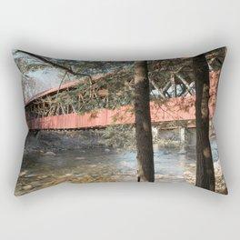 Under Bartlett Covered Bridge New Hampshire Red Wooden Saco River Bridge Rectangular Pillow