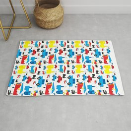 Cute Colorful Planes, Trains and Cars Pattern Rug