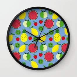 Fruits in blue Wall Clock