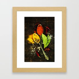 Bright spices on an old  wooden board Framed Art Print