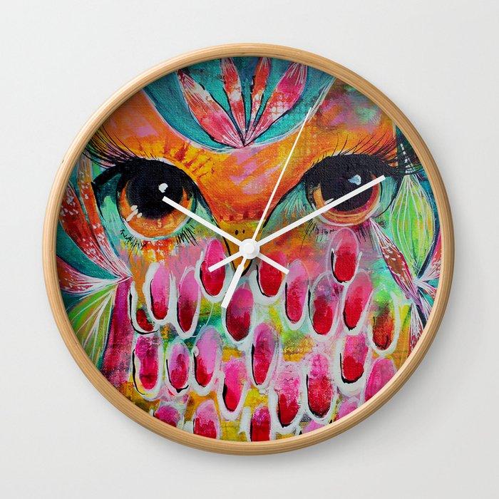 Neon Hoot Wall Clock