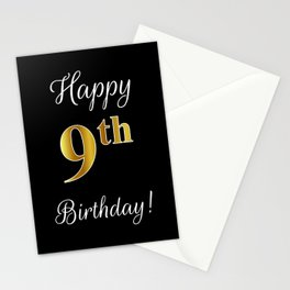 """Elegant """"Happy 9th Birthday!"""" With Faux/Imitation Gold-Inspired Color Pattern Number (on Black) Stationery Cards"""