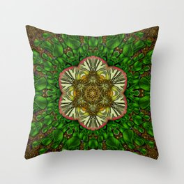 Gothic  metal and golden fresh meditative flowerpower Mandala Throw Pillow