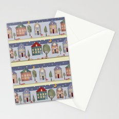 Kids patchwork seamless pattern with houses and trees Stationery Cards