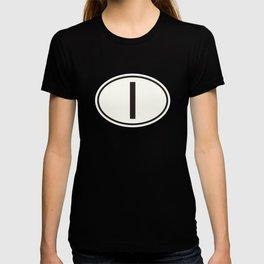 Italy 'I' Oval Car Sticker Design • Dark Red T-shirt