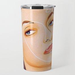 Bette Davis Vintage Hollywood Line Art Pastel Portrait Travel Mug