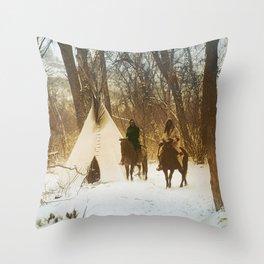 The winter camp - Crow (Apsaroke) Indians Throw Pillow