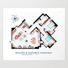 Sheldon and Leonard's apartment floorplan from TBBT Art Print