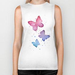 Butterflies Watercolor Abstract Splatters Biker Tank