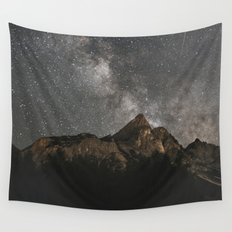 Milky Way Over Mountains - Landscape Photography Wall Tapestry