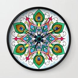 Peacock Feather Mandala Wall Clock