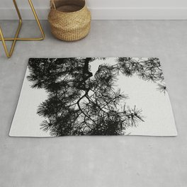 Pine Tree Black & White Rug