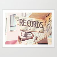 records Art Prints featuring Records by JoyHey