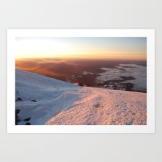 Sunrise above the earth - 14,411 feet Mt. Rainier Art Print
