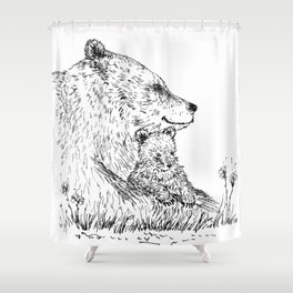 Mom and Baby Grizzly Bear Shower Curtain