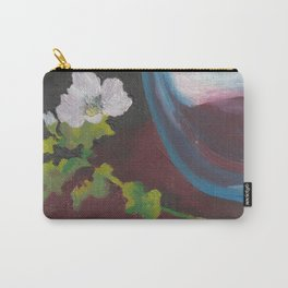 Fiore bianco con vaso d'acqua. Flowers and leaves. Fleur et feuilles. Carry-All Pouch