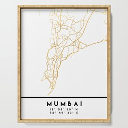 MUMBAI INDIA CITY STREET MAP ART Serving Tray