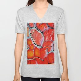 Abstract painting, coral deep red Unisex V-Neck