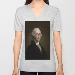 Portrait of George Washington by Gilbert Stuart Williamstown Unisex V-Neck