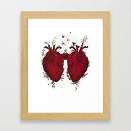 two hearts beating as one Framed Art Print