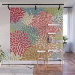 Flower Pattern, Raspberry Red, Lime Green,Teal, Orange Wall Mural