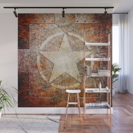 Army Star on Rusted Riveted Metal Plate Wall Mural