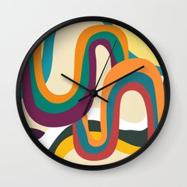 Groovy rainbow of doom Wall Clock