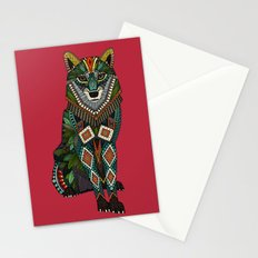 wolf red Stationery Cards