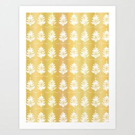 Luxury Gold Foil Festive Christmas Trees Candle Pattern Art Print