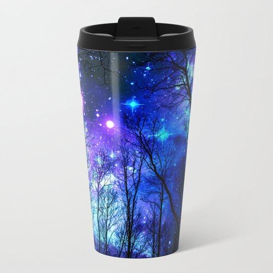 black trees purple blue space Metal Travel Mug