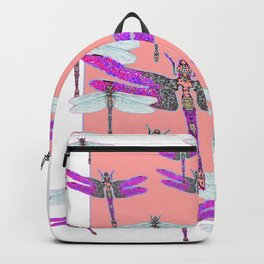 PURPLE  & GOSSAMER WHITE  DRAGONFLIES CORAL ART DESIGN  ART decor, furn Backpack