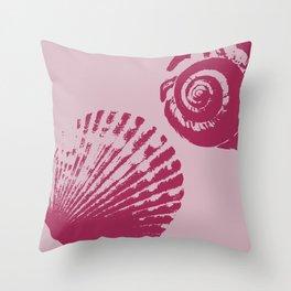 Pink Sea Shells Throw Pillow