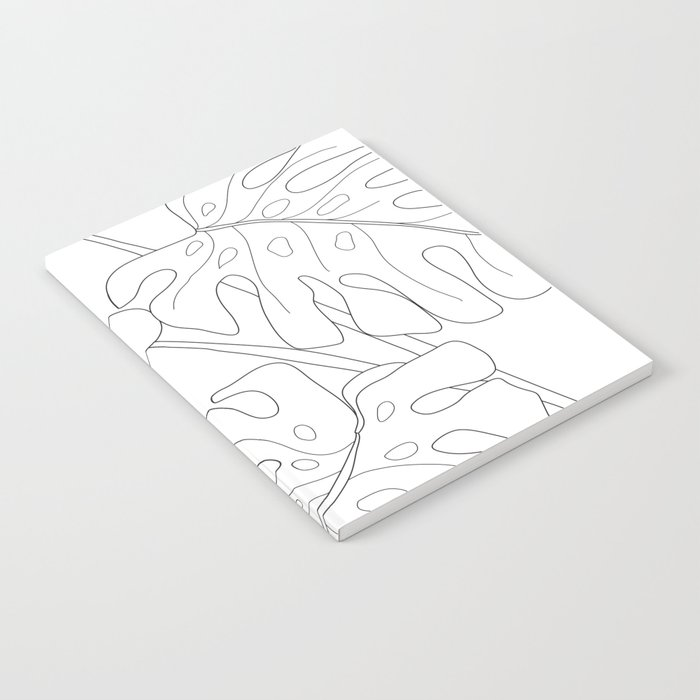 Line Art Monstera Leaves Notebook