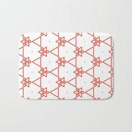 Modern minimalist Orange And White Geometric Pattern Bath Mat