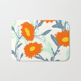 Big orange flowers Bath Mat