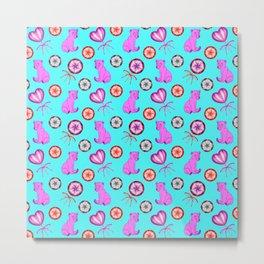 Little pink baby bear cubs, sweet vintage retro lollipops. Cute girly blue winter pattern design Metal Print