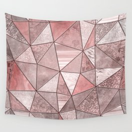 Soft Pink Coral Glamour Gemstone Triangles Wall Tapestry