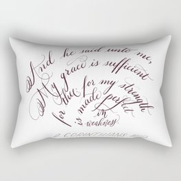 My Grace Is Sufficient For Thee Flourished Calligraphy Rectangular Pillow