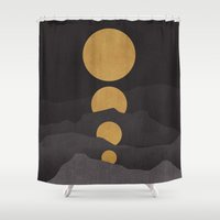 gray Shower Curtains featuring Rise of the golden moon by Picomodi