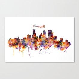 Minneapolis Watercolor Skyline Canvas Print